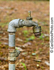 Water Spigot in Forest - Closeup of an old iron water spout...