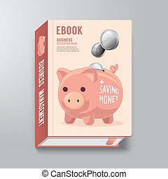 Book Cover Design Template Business Piggy Bank Concept / can...