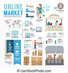 Business Market Online Template Design Infographic . Concept...