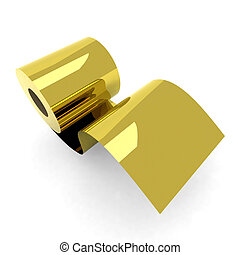 roll toilet paper gold 3d illustration