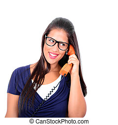 Portrait of beautiful young woman wearing glasses with vintage t