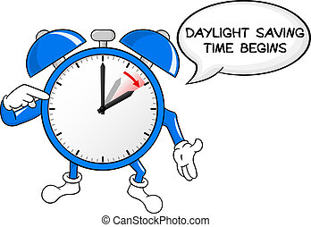 alarm clock change to daylight saving time - vector...
