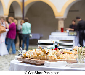 Catering at the business event. - Catering service at...
