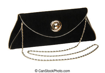 Black theatre clutch bag isolated on white background