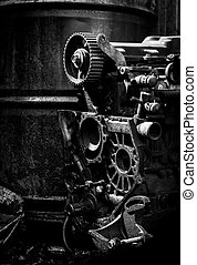 Old car engine, black and white photo - Old car engine part,...