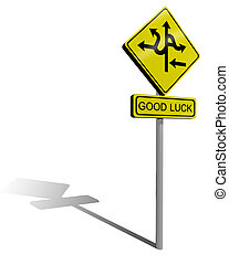 good luck - traffic sign direction, metaphor for the...