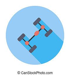 Chassis car single icon - Chassis car Single flat color icon...