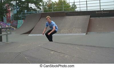 Fly Trick - Slow motion of skateboarder in skatepark...