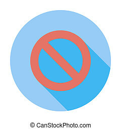 Prohibition sign Single flat color icon Vector illustration...