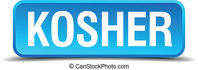 Kosher blue 3d realistic square isolated button