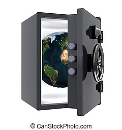 earth protected in a safe, 3d illustration