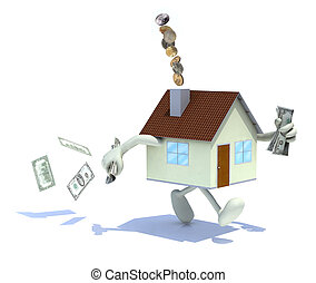 home expensive concepts - home with arms and legs, dollar...