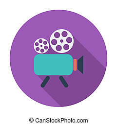 Videocamera. Single flat color icon. Vector illustration.