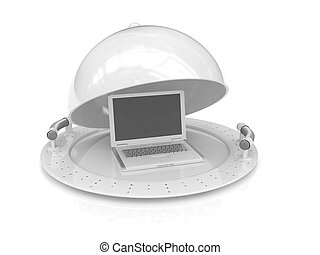 Restaurant cloche and laptop with open lid