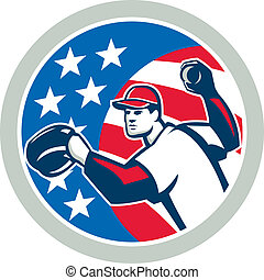 American Baseball Pitcher Throwing Ball Retro - Illustration...