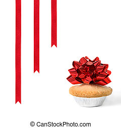 Christmas Mince Pie and Ribbons - Christmas mince pie with...