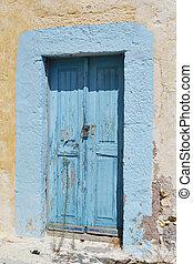 kefalos, stary, drzwi, dom, zrujnowany