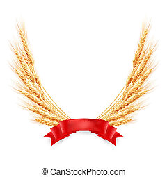 Ripe yellow wheat ears with red ribbon. EPS 10