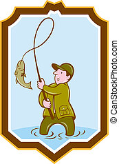 Fly Fisherman Fish On Reel Shield Cartoon - Illustration of...