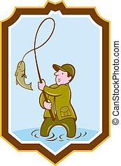 mosca, pescador, pez, en, carrete, protector, caricatura