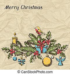 Merry Christmas hand drawn invitation card template