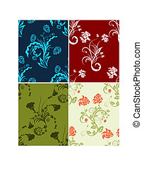 set of color flowers backgroundsbusiness checked background