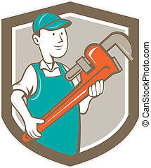 Plumber Monkey Wrench Shield Cartoon - Illustration of a...