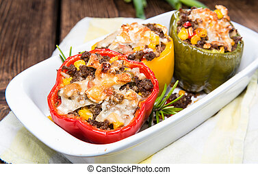 Stuffed Peppers with minced meat (beef), cheese and fresh...