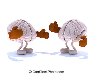 two human brain with boxing gloves in a fight, 3d...