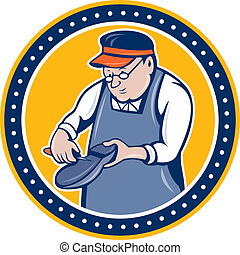 Shoemaker Cobbler Circle Cartoon - Illustration of a...