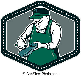 Shoemaker Cobbler Shield Cartoon - Illustration of a...