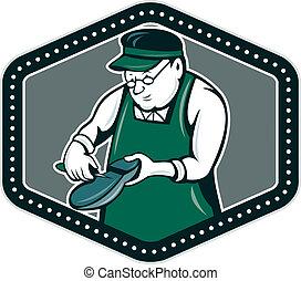 Shoemaker Cobbler Shield Cartoon - Illustration of a...