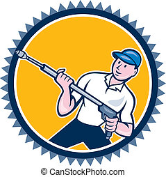 Pressure Washer Water Blaster Rosette Cartoon - Illustration...