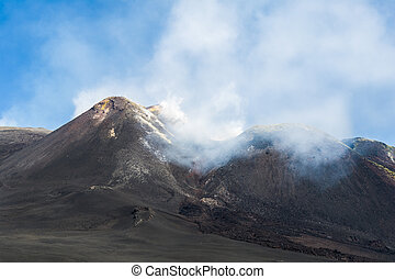 Etna vulcano - Etna vulcano mountains with fog Sicily, Italy...