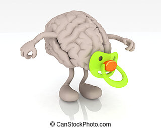 human brain with arms legs and pacifier, 3d illustration