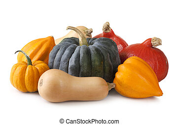 Squashes - Group of fresh squash isolated on a white...