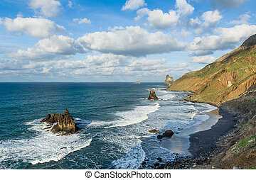 Benijo wild Atlantic ocean beach with black sand - Wild...