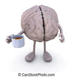 brain with arms and legs and cup of coffee, 3d illustration