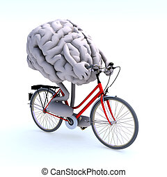 human brain with arms and legs riding a bicycle, 3d...