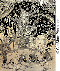 Ancient Thai gold leaf painting art of Ramayana epic