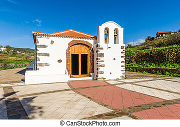 Small white church at Canary village - Chirch at La Gomera...