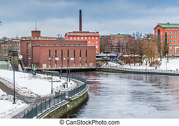 Old dam in the city of Helsinki, Finland