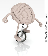 brain with arms and legs rides a unicycle - human brain with...