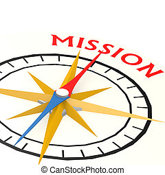 Compass with mission word