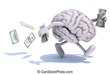 brain with arms and legs run away with money - human brain...