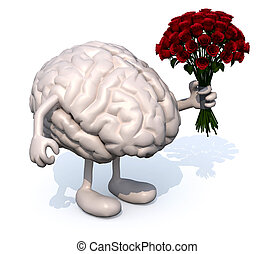 brain with arms, legs and bunch of roses on hand - human...