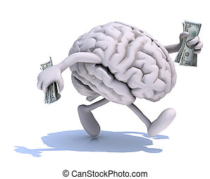 brain with arms and legs run away with dollar notes on hands...