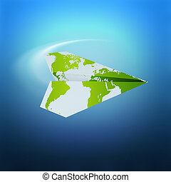 travel concept - paper airplane with world map on blue...