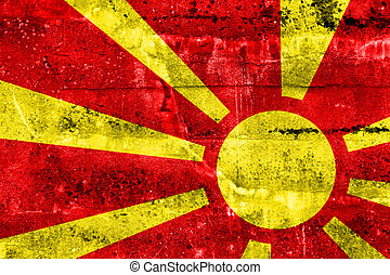 Macedonia Flag painted on grunge wall