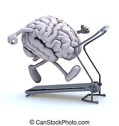 human brain on a running machine - human brain with arms and...